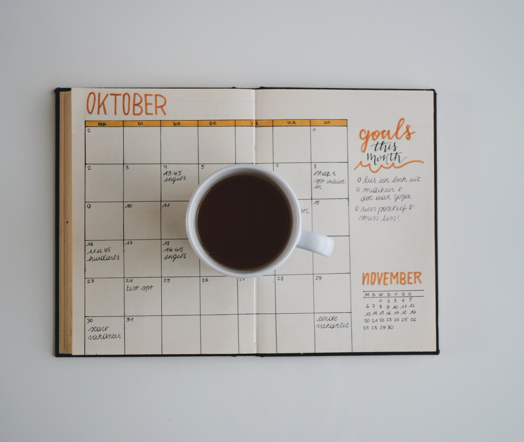Coffee Cup on Bullet Journal