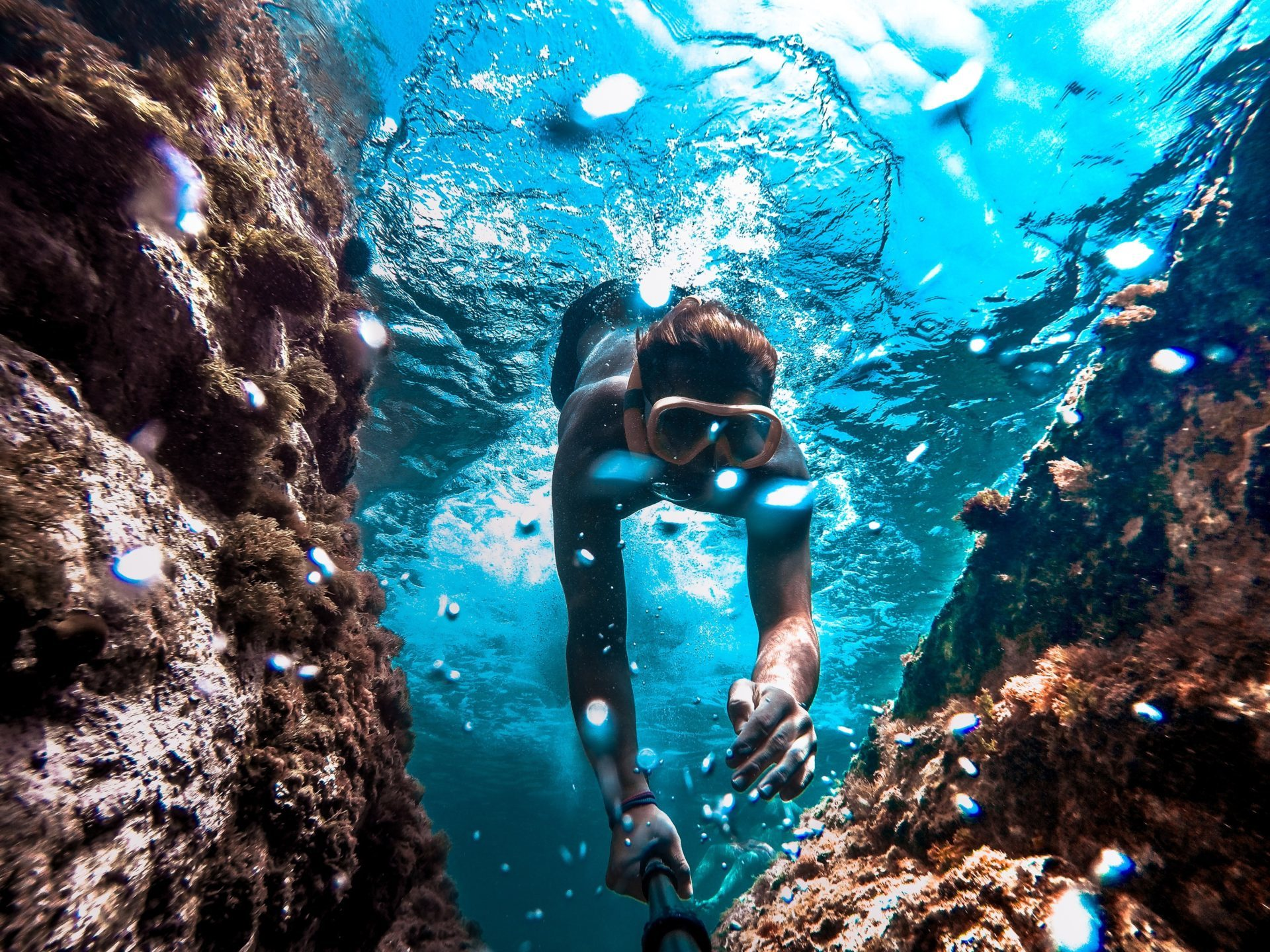 Snorkeler Diving Underwater