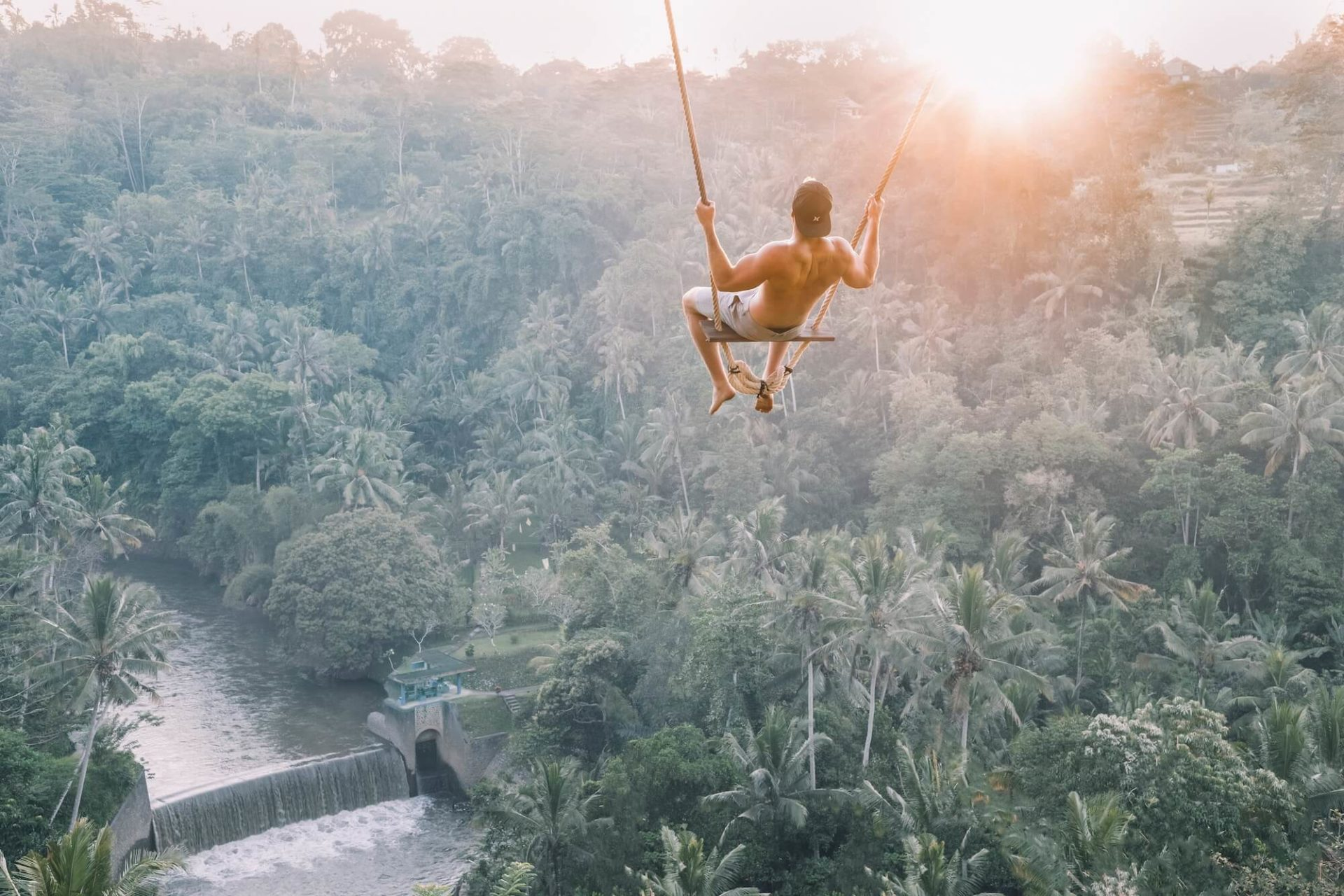 Person Swinging Above Jungle Canopy