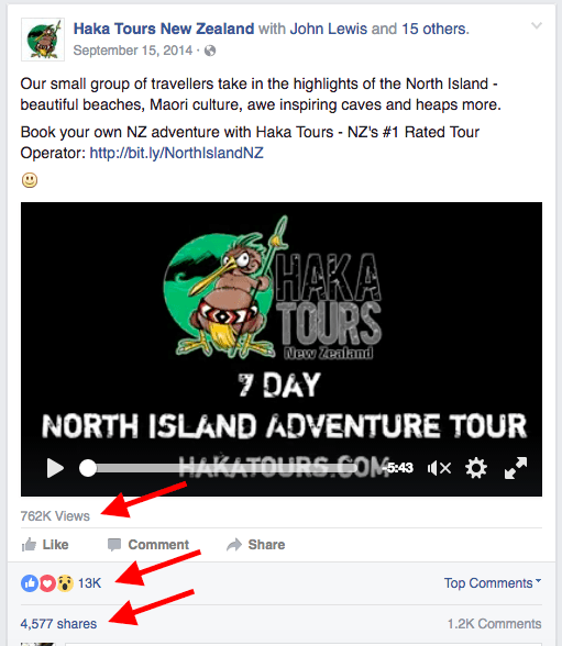 Haka Tours New Zealand Facebook video advertising example