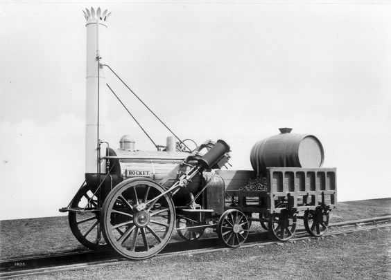 Black and white photo of a steam engine