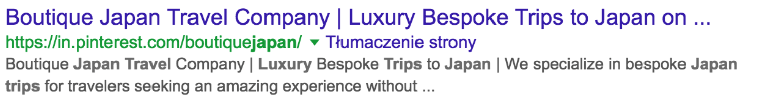 Pinterest account for Boutique Japan Travel Company in the Google search results