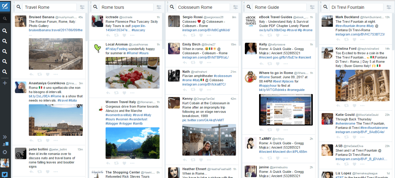 Five different columns of hashtags being followed on Tweet Deck