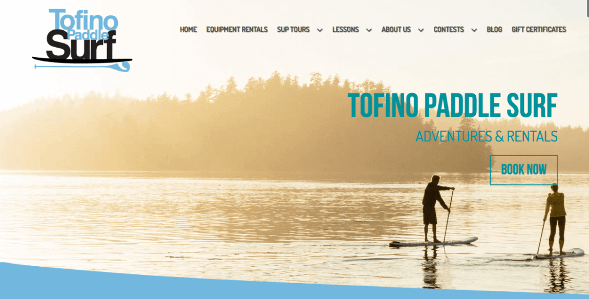 Tofino Paddle Surf homepage, designed by Andrea