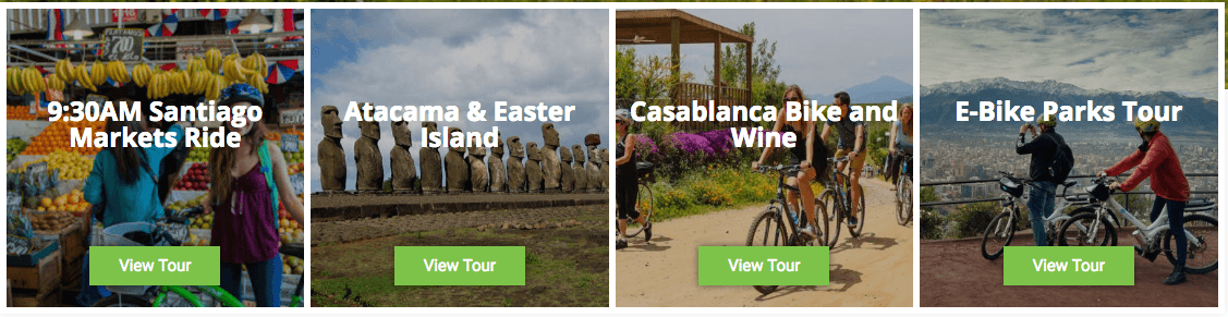 Flexi cards demonstrating four different tours from La Bicicleta Verde