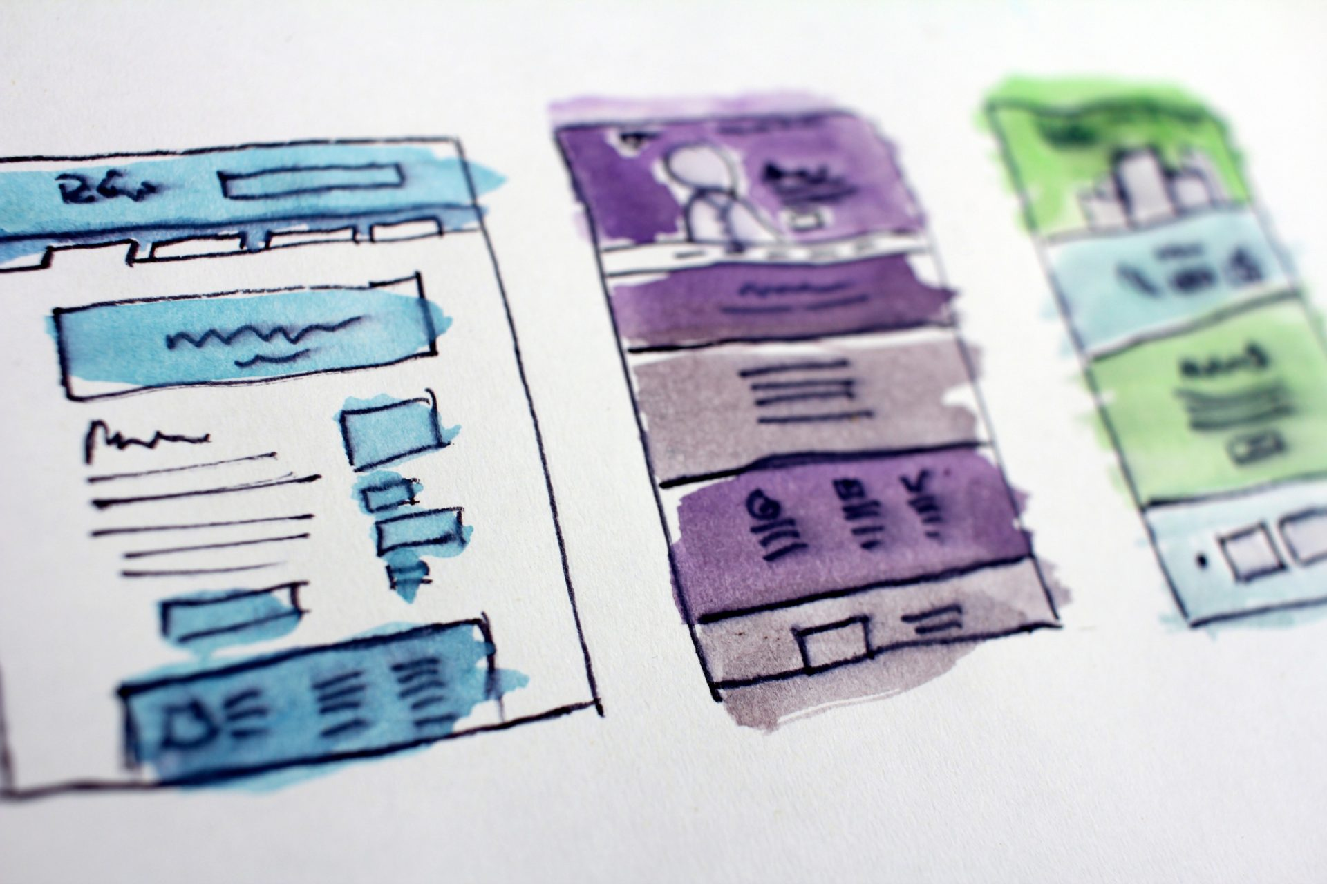 Watercolored examples of websites