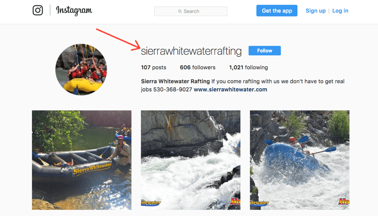 Sierra Whitewater Rafting Instagram profile