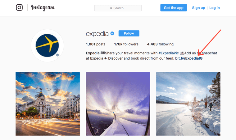 Expedia Instagram profile with a bit.ly link