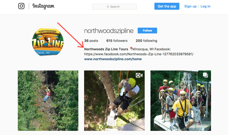 Northwoods Zipline Tours Instagram profile