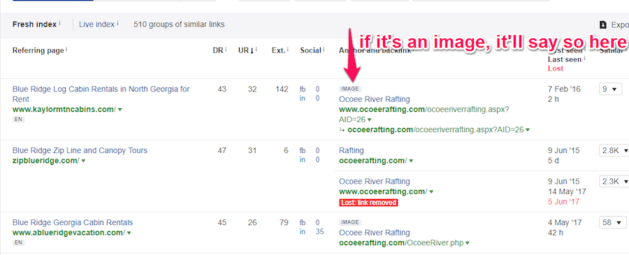 Screenshot showing a list of backlinks for Ocoeerafting.com and an arrow pointing to one indicating that it is an image