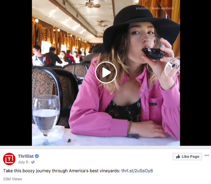 Screenshot of the post by Thrillist showing a video of a woman drinking wine with the caption 'Take this boozy journey through America's best vineyards'