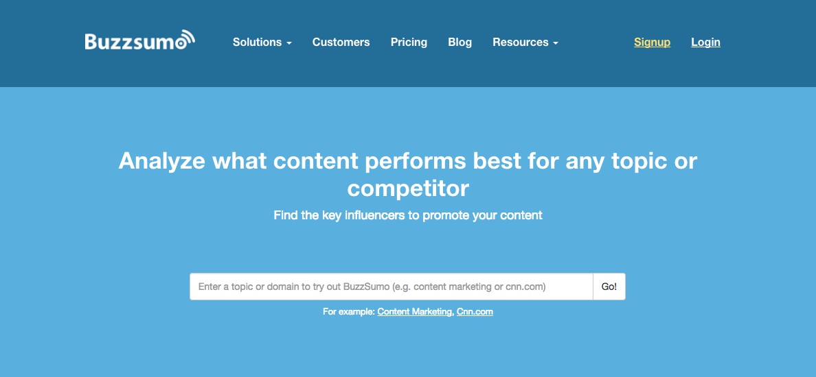 Screenshot of the Buzzsumo homepage which has a search bar allowing you to look at which content topics are most popular