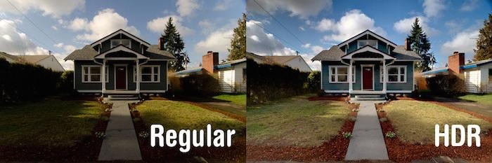 Side by side comparisons of a house with HDR coloring