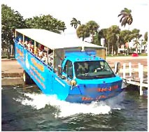 Blurry photo of a waterbus going into the water