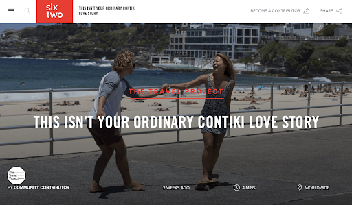Contiki Tours guest story with the caption 'This isn't your ordinary Contiki love story'