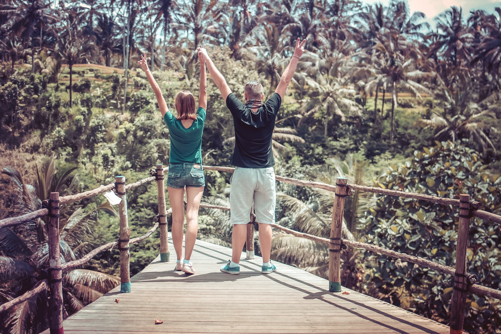 Couple holding hands with arms outstretched over their heads looking at a forest of palm trees