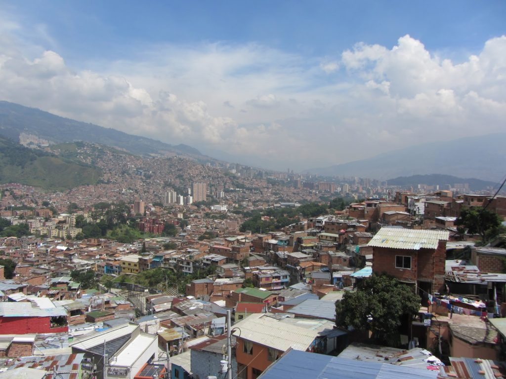 Overhead view of Comuna 13 in Medellin