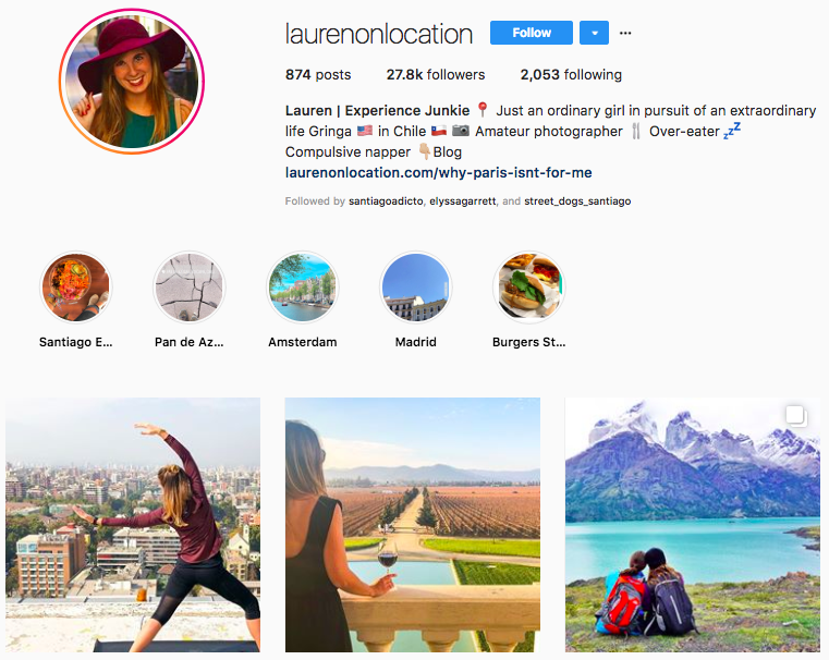 laurenonlocation Instagram profile