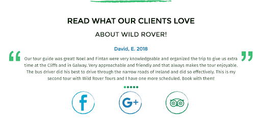 Testimonials on Wild Rover website