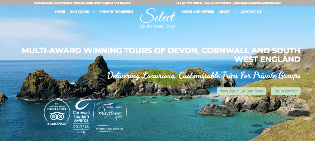 Select South West homepage hero image of the coast with rocky outcroppings