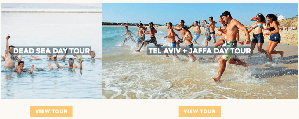 Shin Tours flexi card images of the 'Dead Sea Day Tour' and 'Tel Aviv + Jaffa Day Tour'