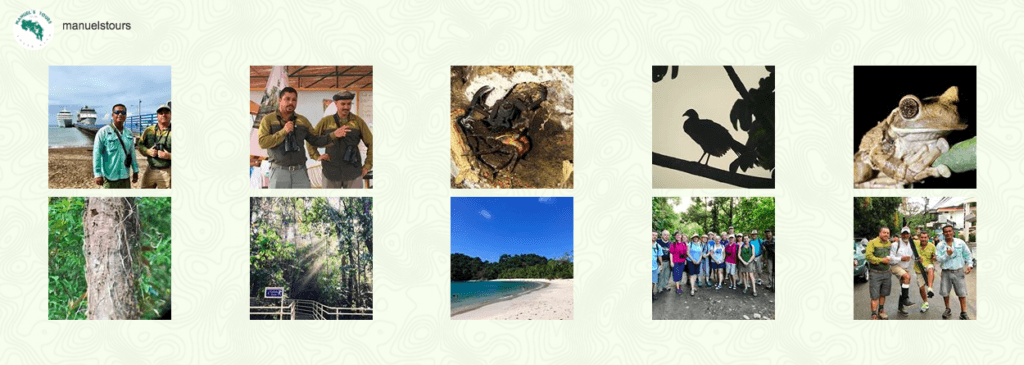 Instagram feed for Manuel's Tours showing ten images