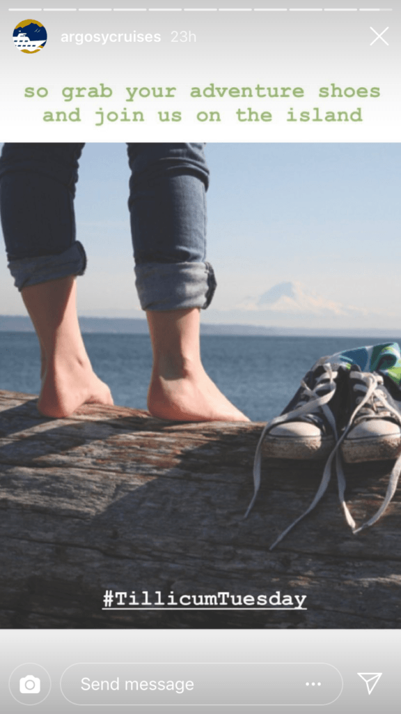 Sixth and final photo in the story with the caption 'so grab your adventure shoes and join us on the island' with the hashtag 'Tillicum Tuesday' atop a photo of a person's legs with their shoes off next to a pair of sneakers