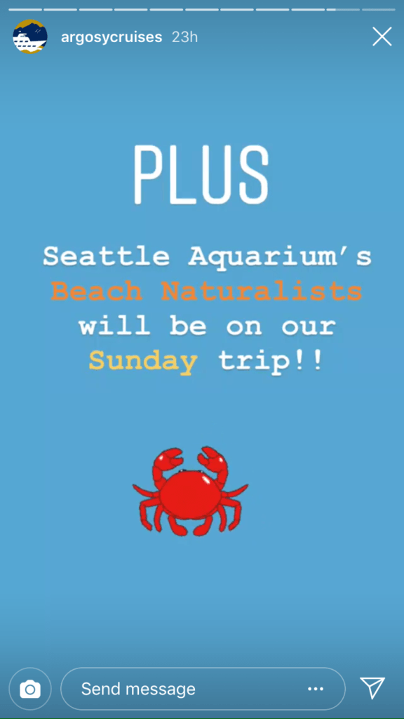 Fifth photo in the story with the caption 'PLUS Seattle Aquarium's Beach Naturalists will be on our Sunday trip' with a sticker of a crab