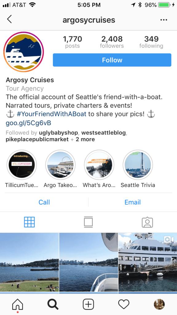 Argosy Cruises Instagram profile
