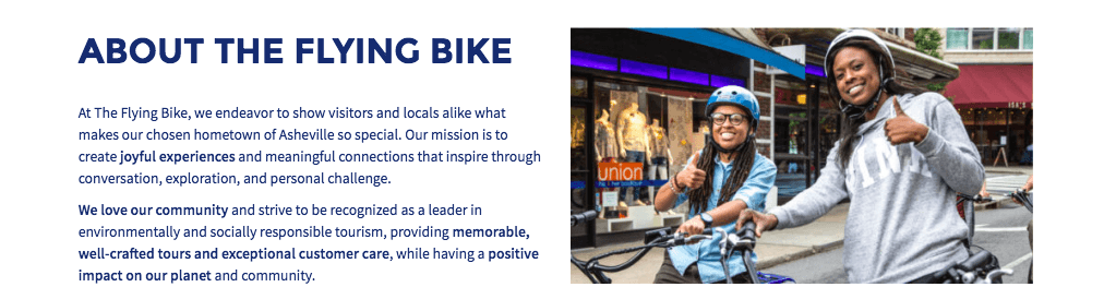 About page for The Flying Bike with a description of the company's mission