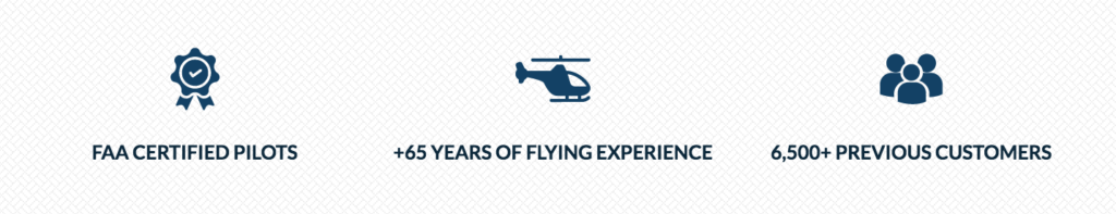 Hangar21 About page with icons above facts about the company such as their years of flying experience, FAA certifications, and amount of previous customers