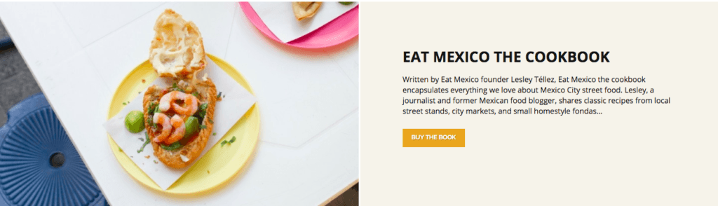 About page for Eat Mexico with the header 'Eat Mexico the Cookbook'