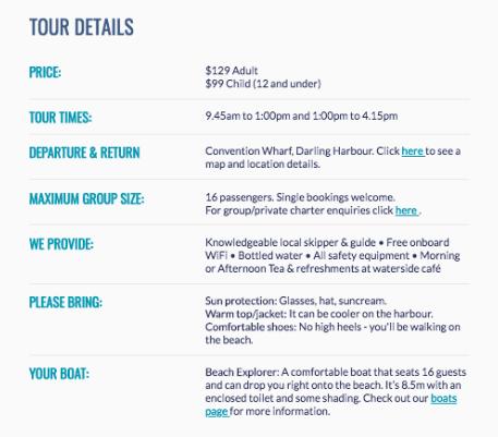 Tour Details Example