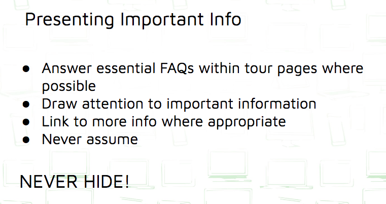Presenting Important Info