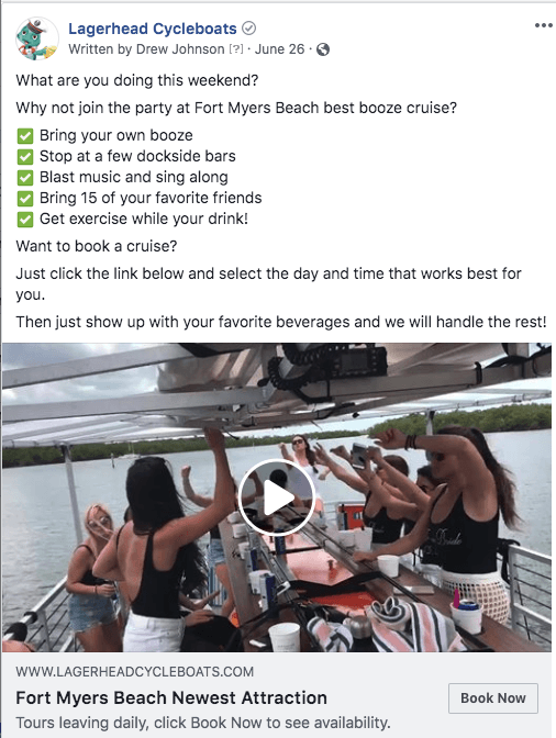 Lagerhead Cycleboats Facebook video ad with information about the Fort Myers Beach booze cruise