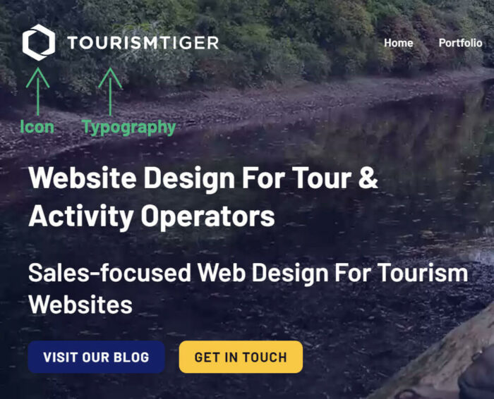 A breakdown of Tourism Tiger's Logo into icon and typograhy