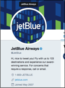 JetBlue Airways Twitter Bio