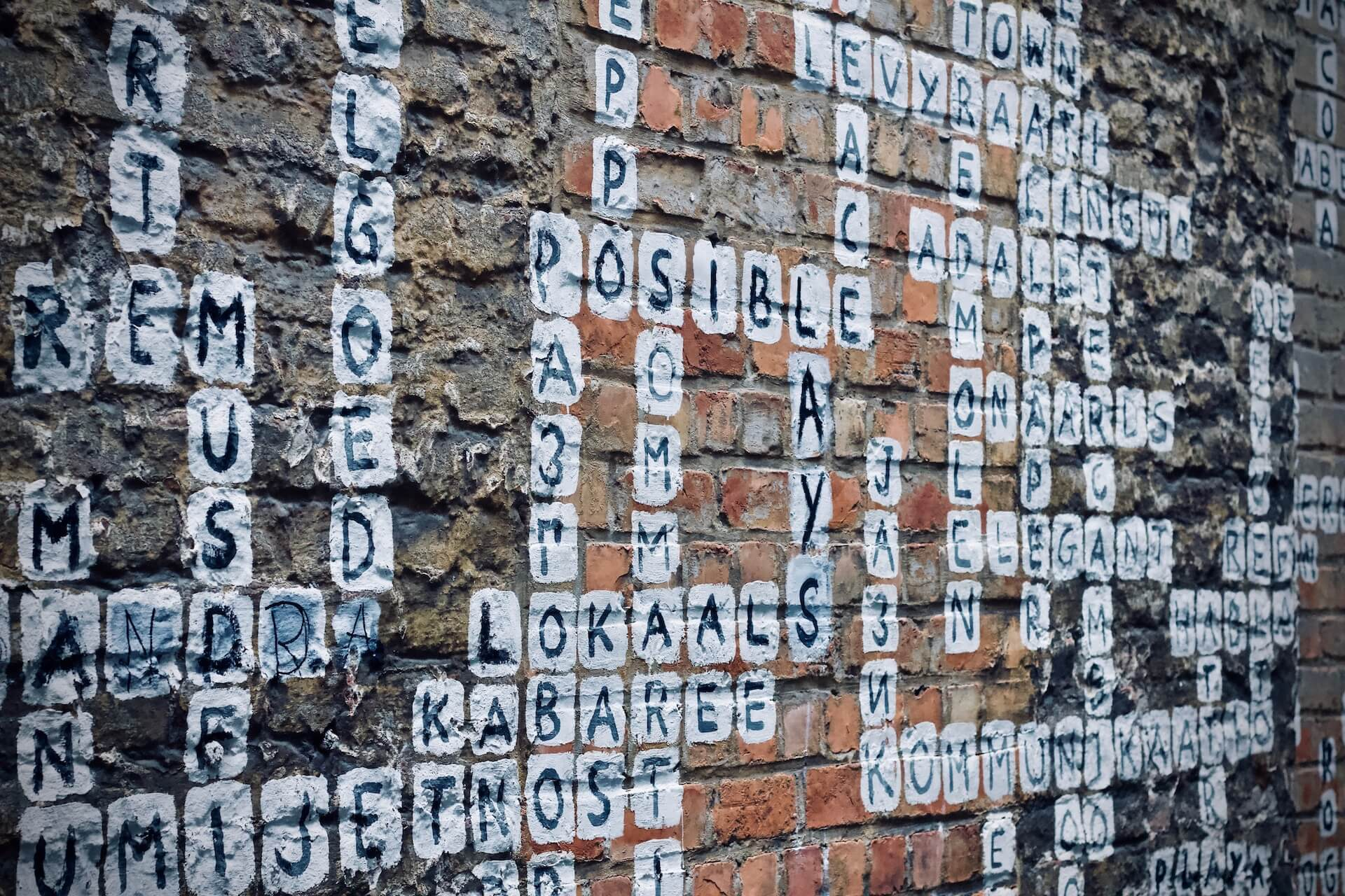 Crossword Puzzle on Wall