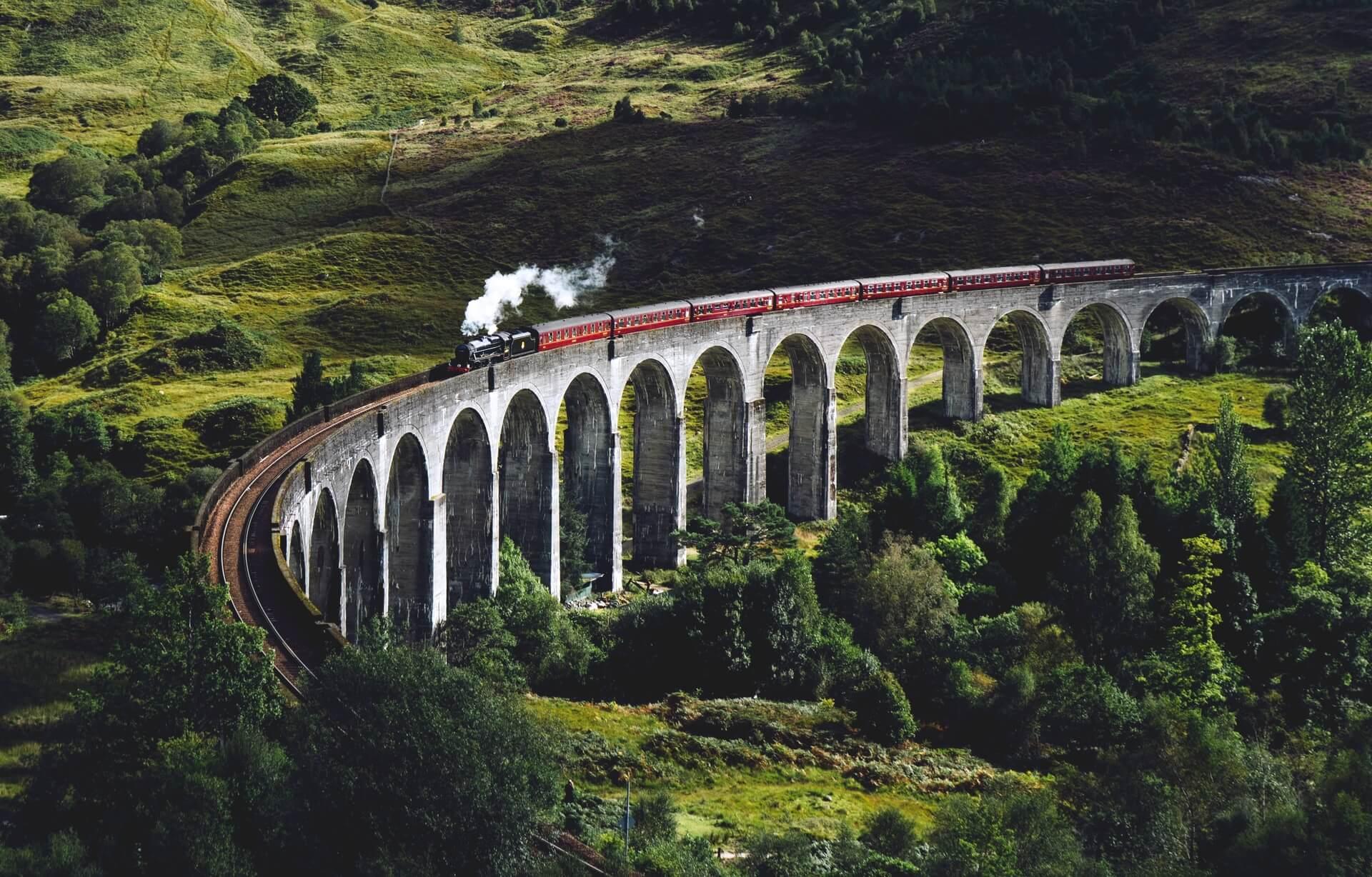 Train Traveling Across Scotland