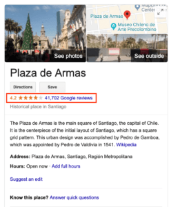 Screenshot of Plaza de Armas Google Review