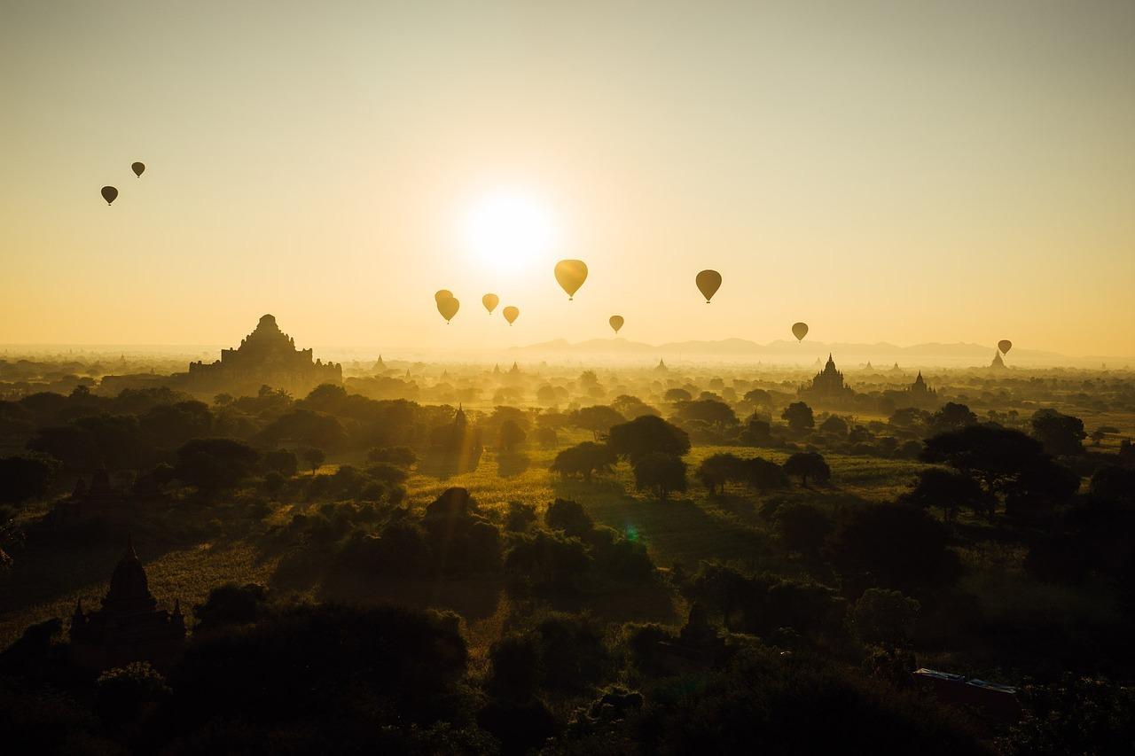 Hot Air Balloons Floating into Air
