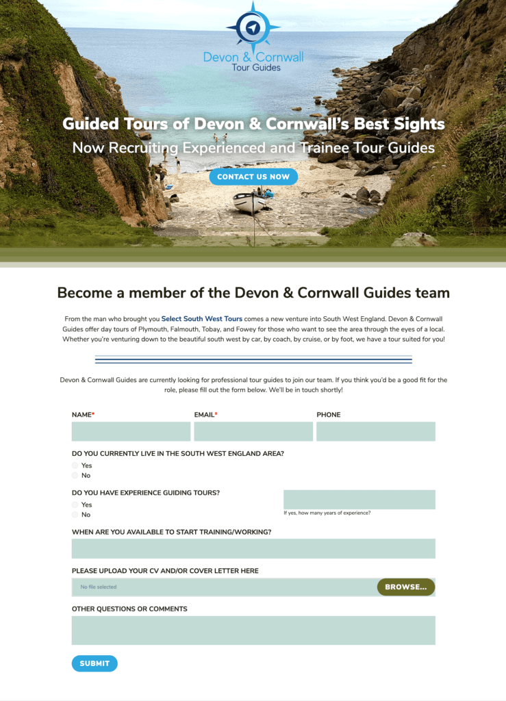Splash Page Featuring Job Openings at Devon & Cornwall Guides