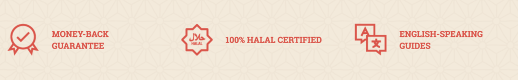 """Three USPs for Japan Halal Day Tours including """"100% Halal Certified"""""""