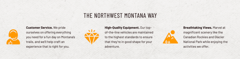 "Three USPs for Northwest Montana Adventures including ""Customer Service"""