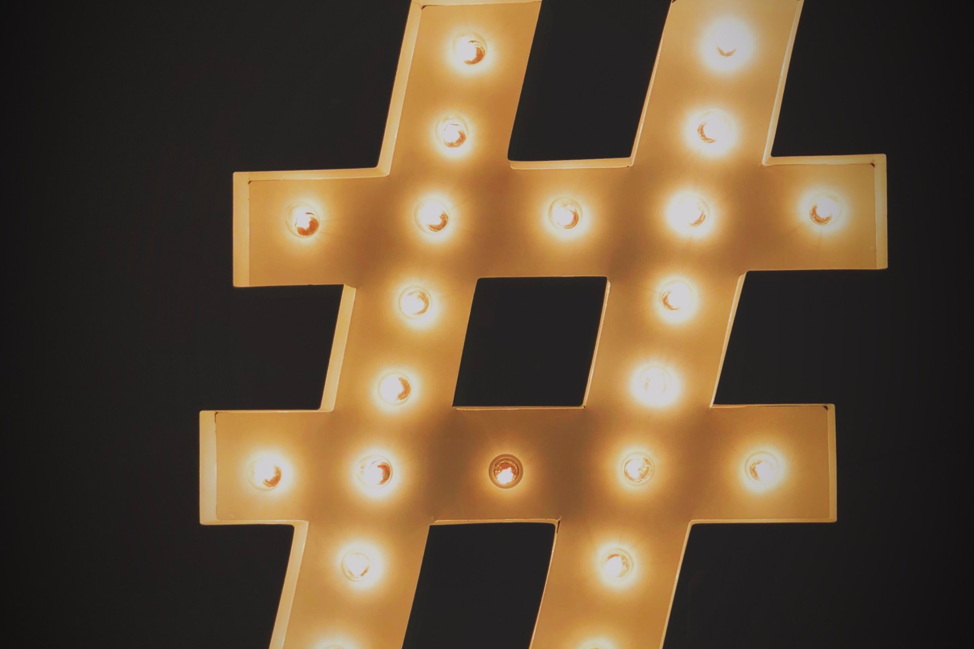 lit up hashtag symbol