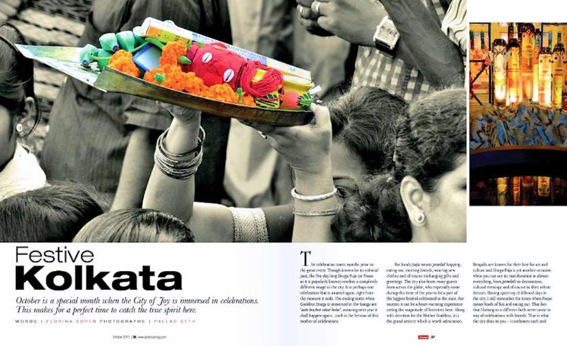Magazine spread about Kolkata