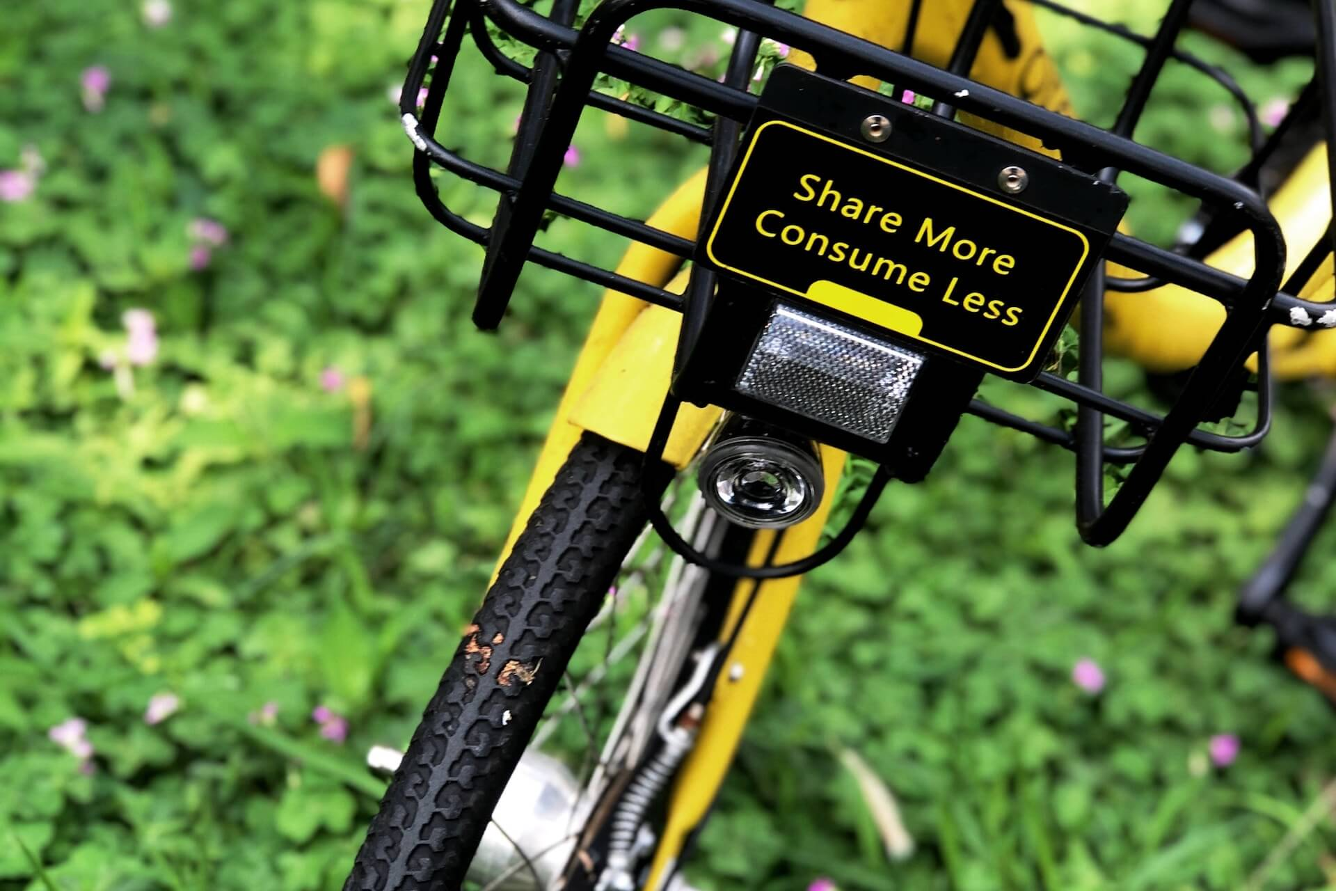 "Bike in grass that says ""Share more, consume less"""