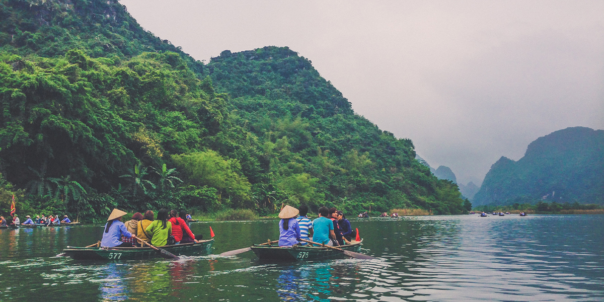 Tourists on a boat tour in Vietnam