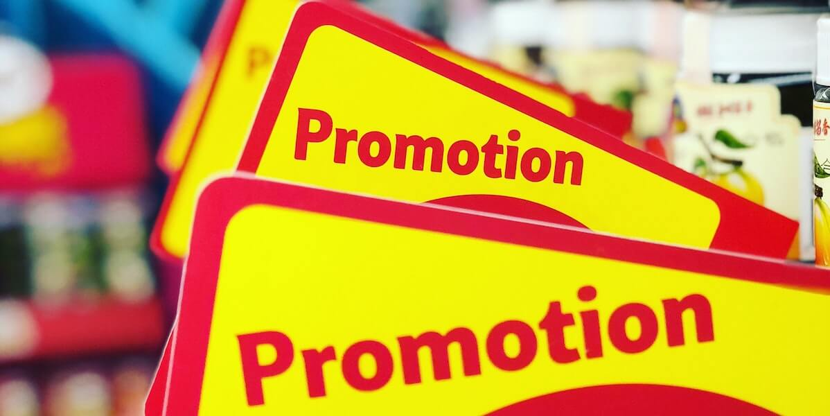 bright yellow promotional signs