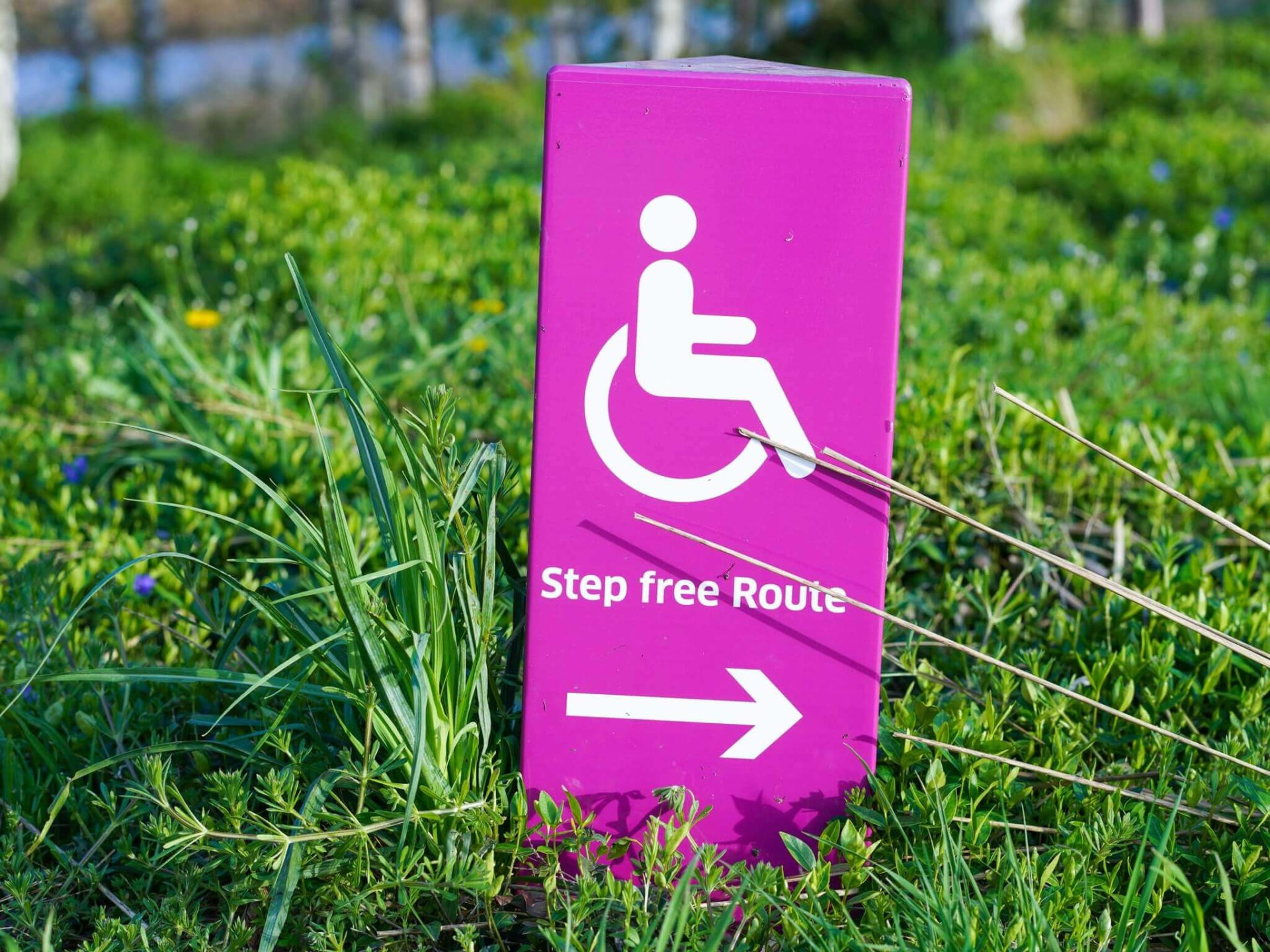 Sign with image of person in wheelchair and arrow to step free access
